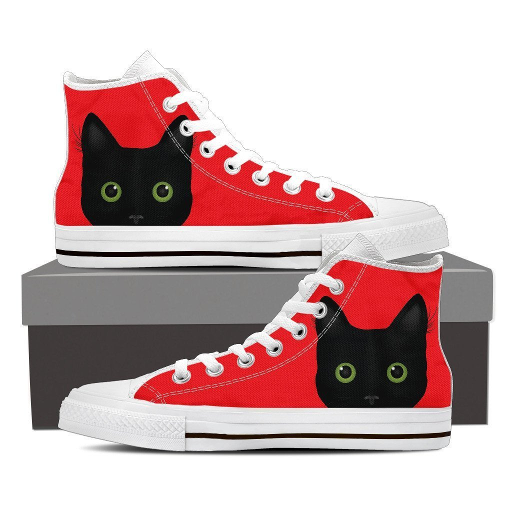 Black Cat with Green Eyes Ladies high top sneakers red