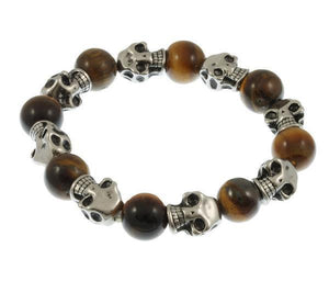 BROWN BEADS AND SKULLS BRACELET - 7 INCH
