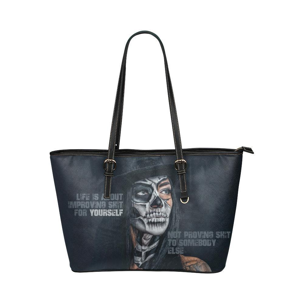 Skull Girl Leather Tote Bag