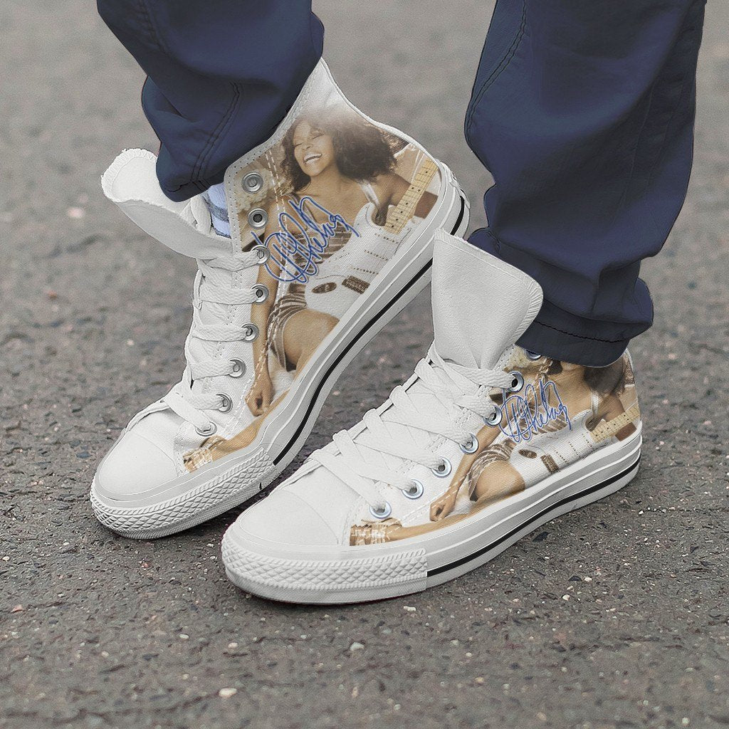 whitney houston mens high top sneakers