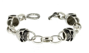MEN'S STAINLESS STEEL SKULL BRACELET - 9 INCH
