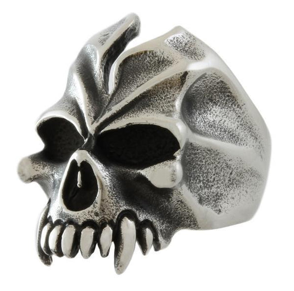 STAINLESS STEEL FANGED SPLIT SKULL RING