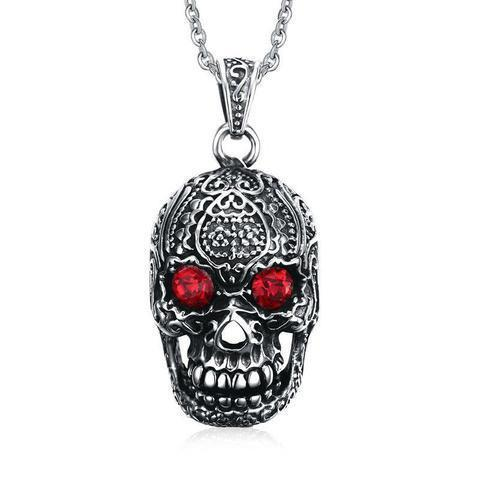STAINLESS STEEL GOTHIC SKULL PENDANT NECKLACE