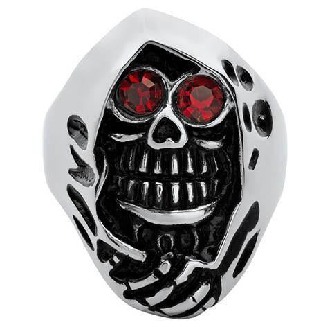 STAINLESS STEEL RED CZ EYED GRIM REAPER RING