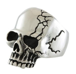 STAINLESS STEEL SCARRED SKULL RING