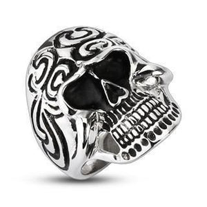 STAINLESS STEEL TRIBAL TIDAL SKULL RING