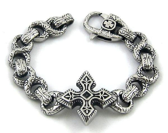 STEEL CAST CELTIC CROSS ENGRAVED BRACELET