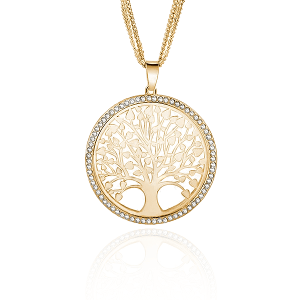 """Tree of Life"" Pendant Necklace with Rhinestones"