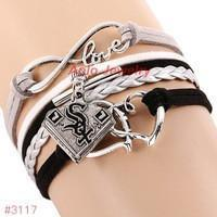 Infinity Love Chicago White Sox Baseball Team  Leather Bracelet ! FREE just pay S&H!