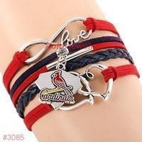 Infinity Love ST Louis Cardinals Baseball Team  Leather Bracelet ! FREE just pay S&H!