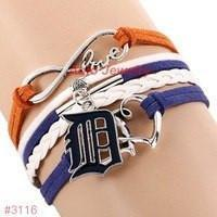 Infinity Love Detroit Tigers Baseball Team  Leather Bracelet ! FREE just pay S&H!