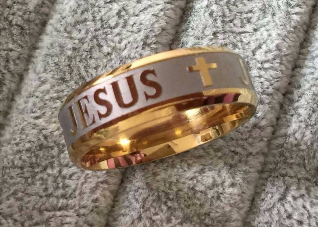 18K Gold & Silver Jesus Ring - Special Design Jewelry - 1