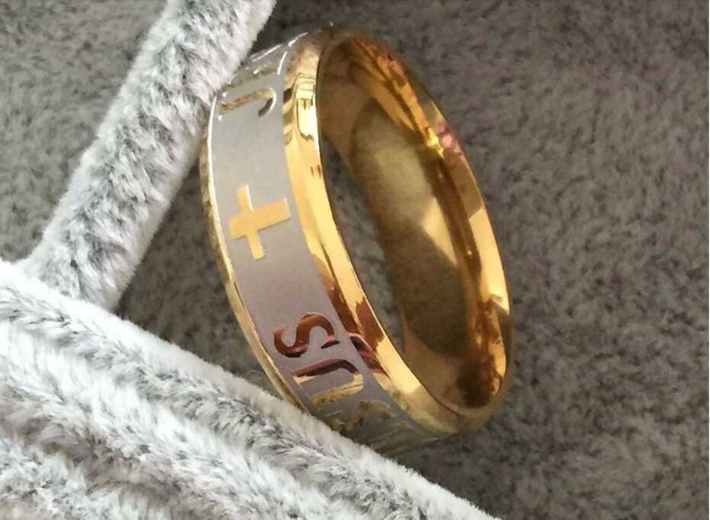18K Gold & Silver Jesus Ring - Special Design Jewelry - 2
