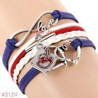 Infinity Cleveland Indians Baseball Team  Leather Bracelet ! FREE just pay S&H!