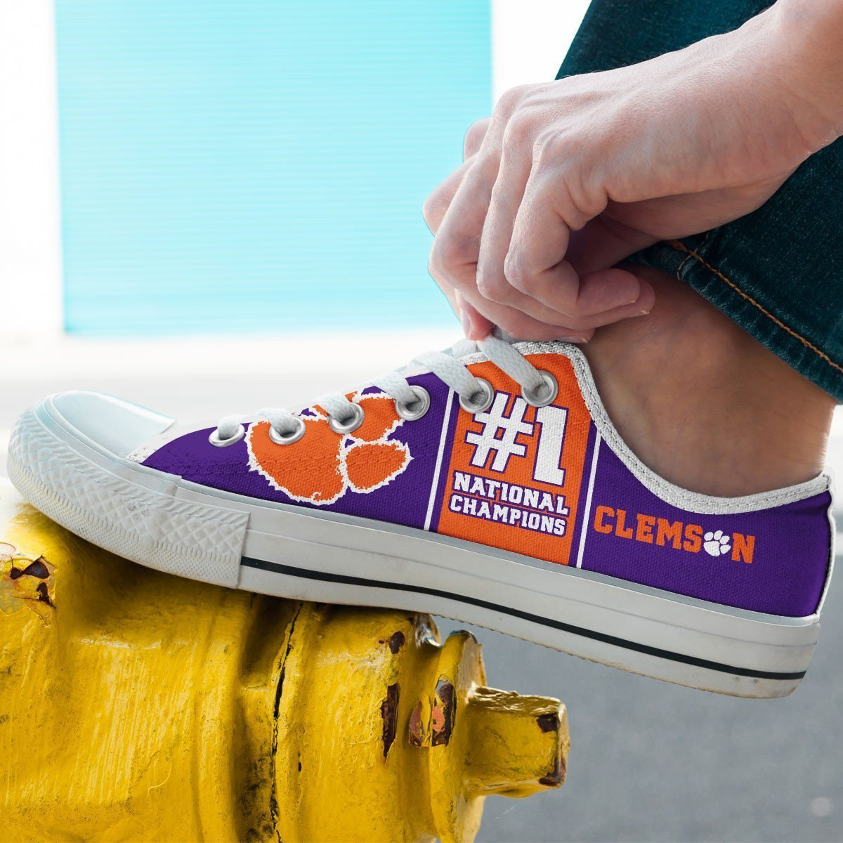 clemson tigers national champions mens low cut sneakers cut