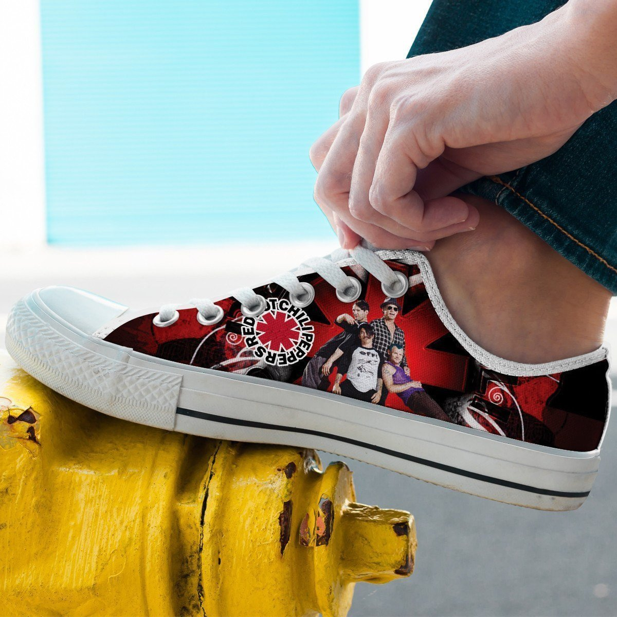 red hot chili peppers mens low cut sneakers