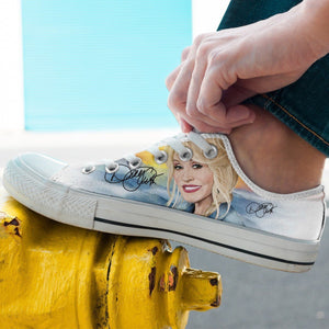 dolly parton mens low cut sneakers