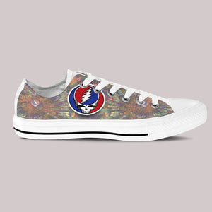 grateful dead skull mens low cut sneakers
