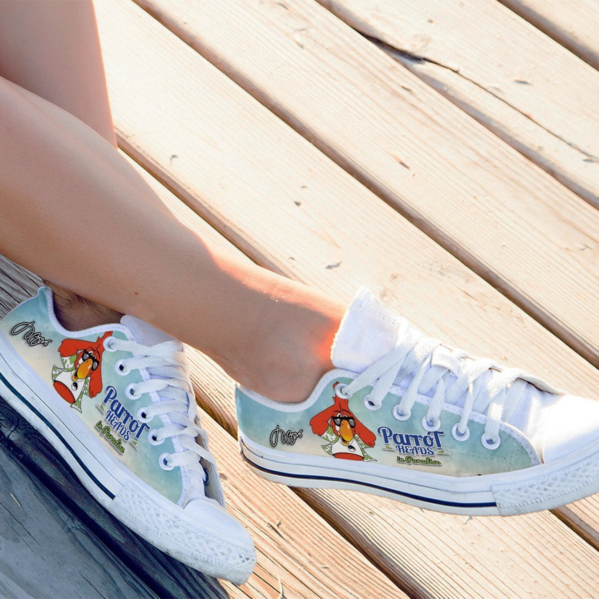 jimmy buffett parrotheads ladies low cut sneakers