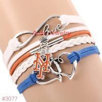 Infinity New York Mets Baseball Team  Leather Bracelet ! FREE just pay S&H!