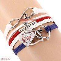 Infinity Love Minnesota Twins Baseball Team  Leather Bracelet ! FREE just pay S&H!
