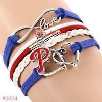 Infinity Love Philadelphia Phillies Baseball Team  Leather Bracelet ! FREE just pay S&H!