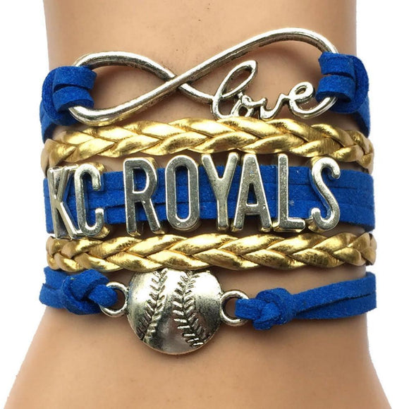 infinity love kc royals baseball bracelet handmade free just pay shipping