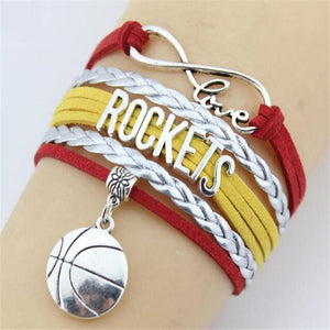 infinity love houston rockets leather wrap charm bracelet free just pay shipping