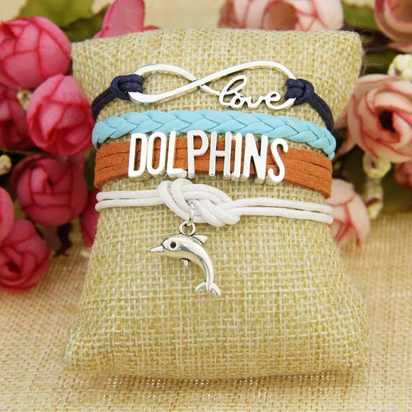 infinity love miami dolphins bracelet nfl football team sports leather free just pay shipping