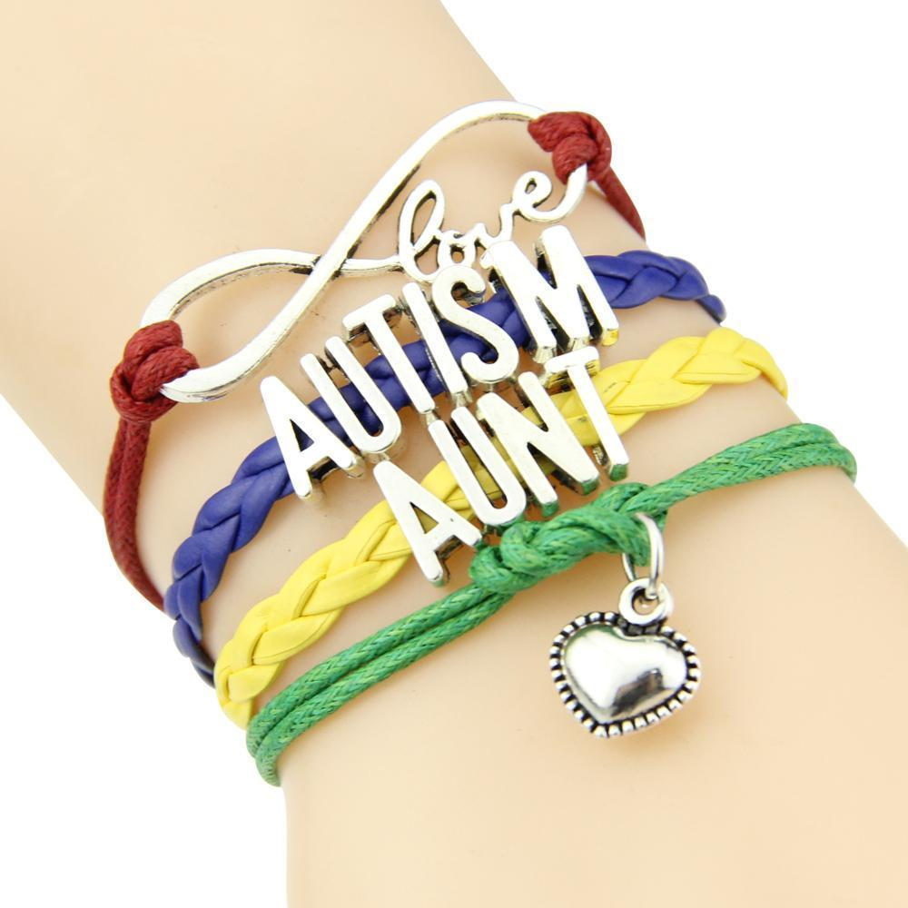 Infinity Love Autism Mom or Mum Grandma Nana Aunt Sister Awareness Charm yours FREE