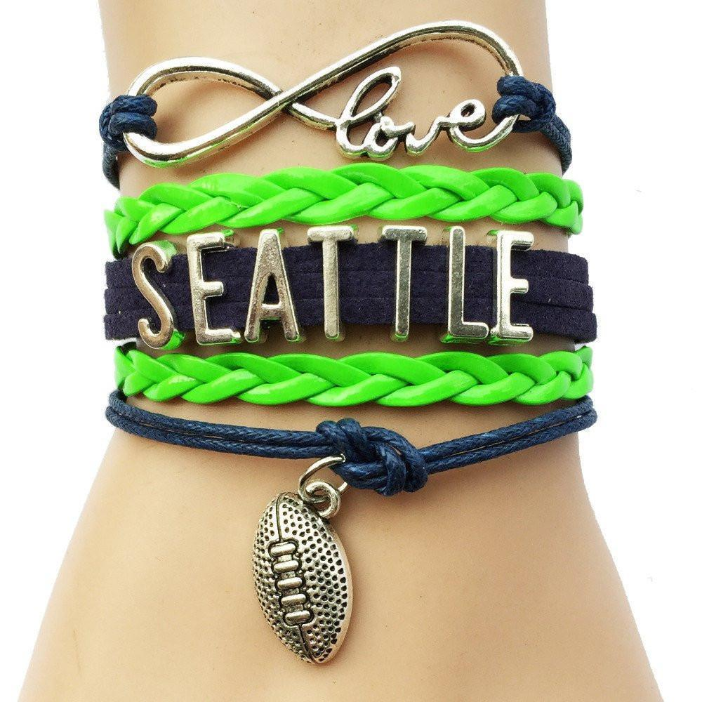 seattle seahawks navy green bracelet