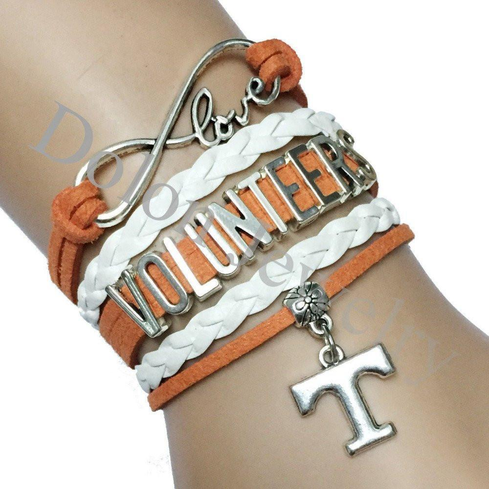 infinity love tennessee volunteers team bracelet custom orange with white braid leather free just pay shipping