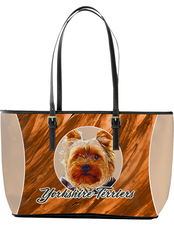 Yorkshire Terriers Large Leather Tote