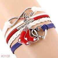 Infinity Love Boston Red Sox Baseball Team  Leather Bracelet ! FREE just pay S&H!