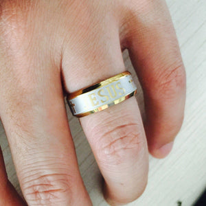 18K Gold & Silver Jesus Ring - Special Design Jewelry - 5