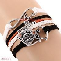 Infinity Love San Francisco Giants Baseball Team  Leather Bracelet ! FREE just pay S&H!