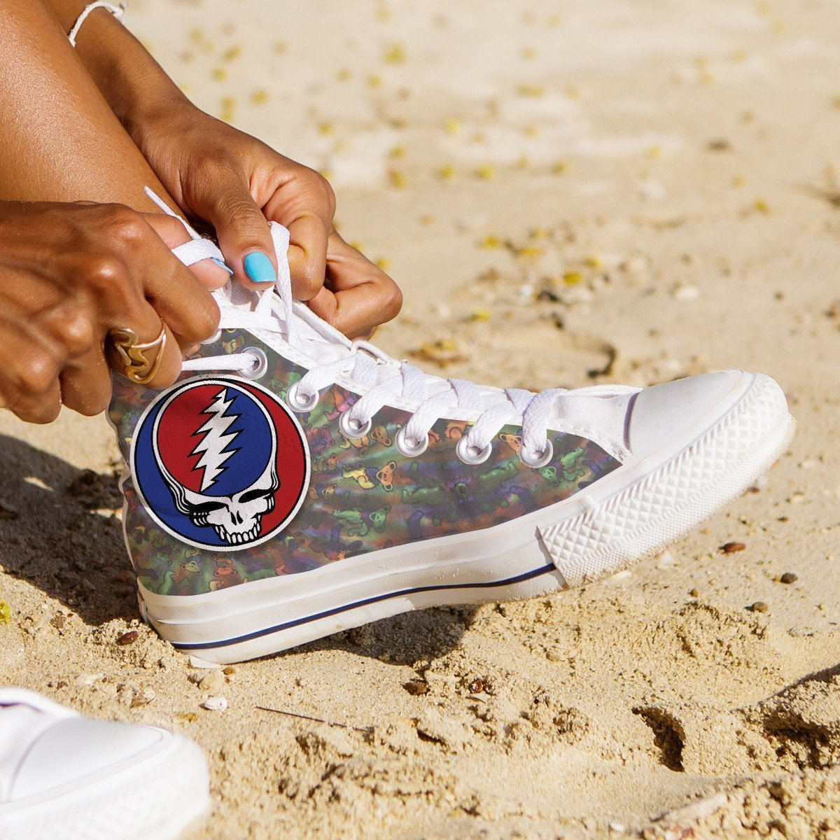 grateful dead skull ladies high top sneakers