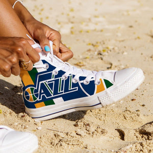 utah jazz ladies high top sneakers