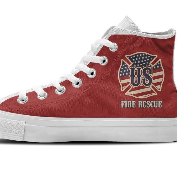 us fire rescue ladies high top sneakers