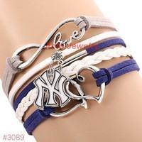 Infinity Love New York Yankees Baseball Team  Leather Bracelet ! FREE just pay S&H!