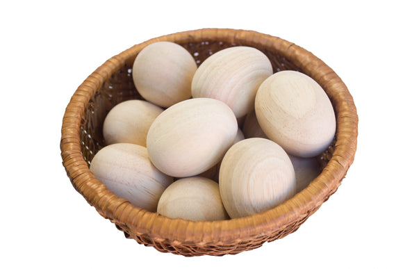 Raw Wooden Eggs in Basket