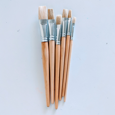 Paint Brushes - Flat, pack of 6