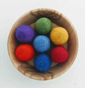 Felt Balls 3.5cm Rainbow Colours