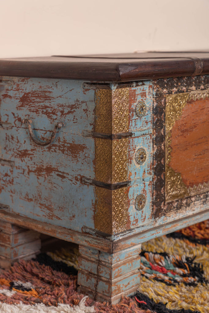 Reclaimed Wooden Trunk with Brass Trim - 101
