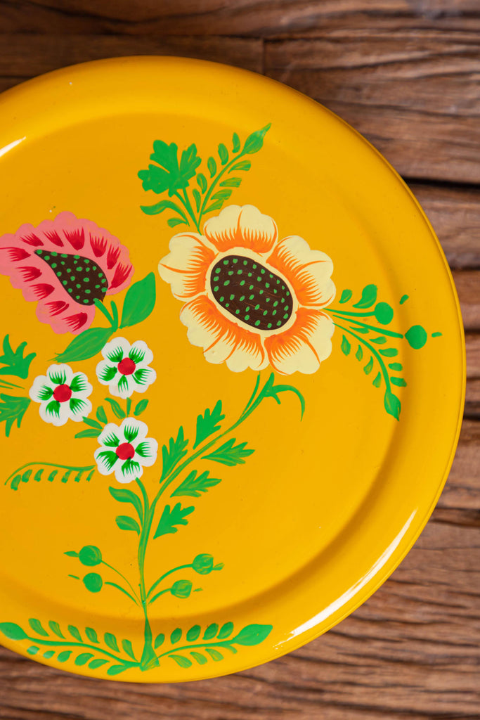 Hand Painted  Yellow Floral Stainless Steel Round Container - Set of 3