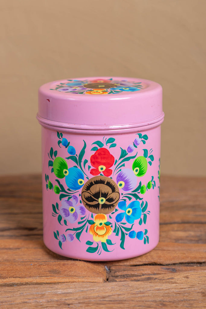 Hand Painted Pink Floral Stainless Steel Canister