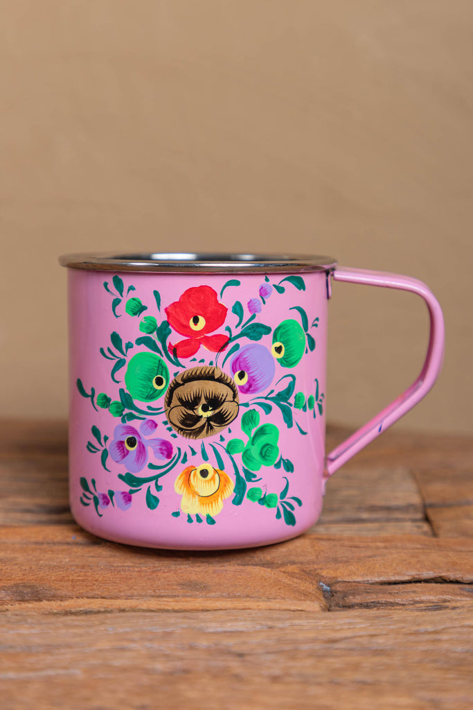 Hand Painted Pink Floral Stainless Steel Mug