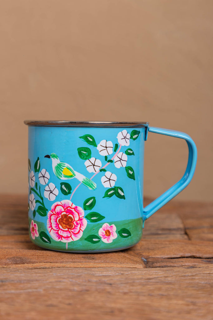 Hand Painted Sky Blue Floral Stainless Steel Mug