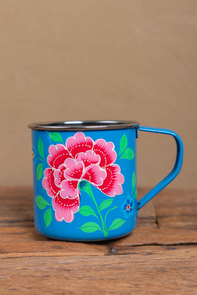 Hand Painted Smoke Blue Floral Stainless Steel Mug