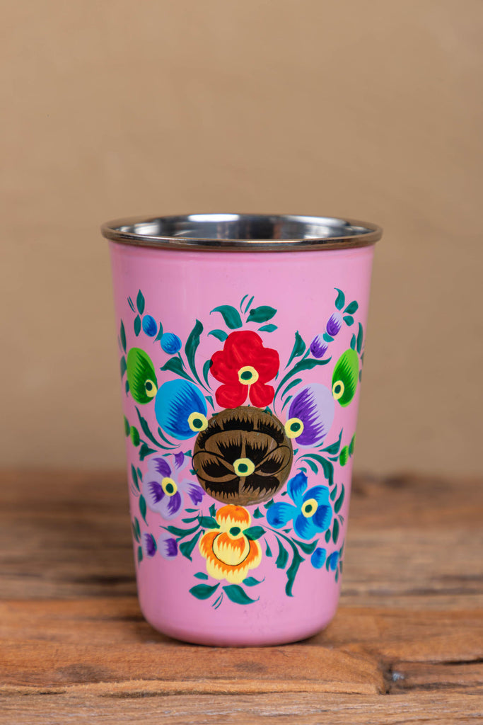 Hand Painted Pink Floral Stainless Steel Tumbler